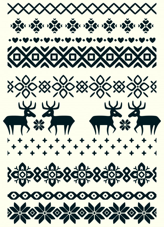 Vector ugly sweater seamless borders Vector.