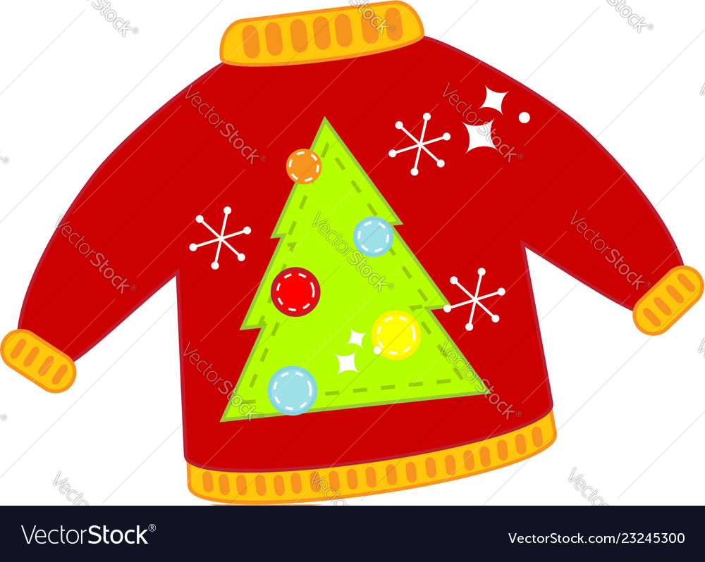Red christmas ugly sweater isolated clip art.