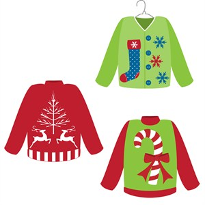 Ugly Christmas Sweater Contest Clipart.