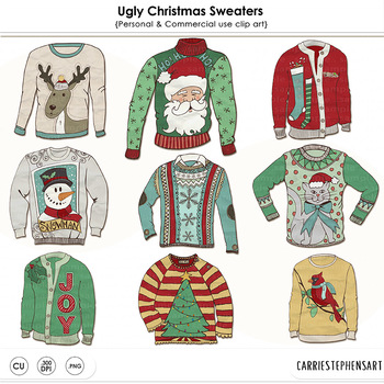 Ugly Christmas Sweater Party ClipArt, Tacky Sweaters, Festive Holiday Clip  Art.