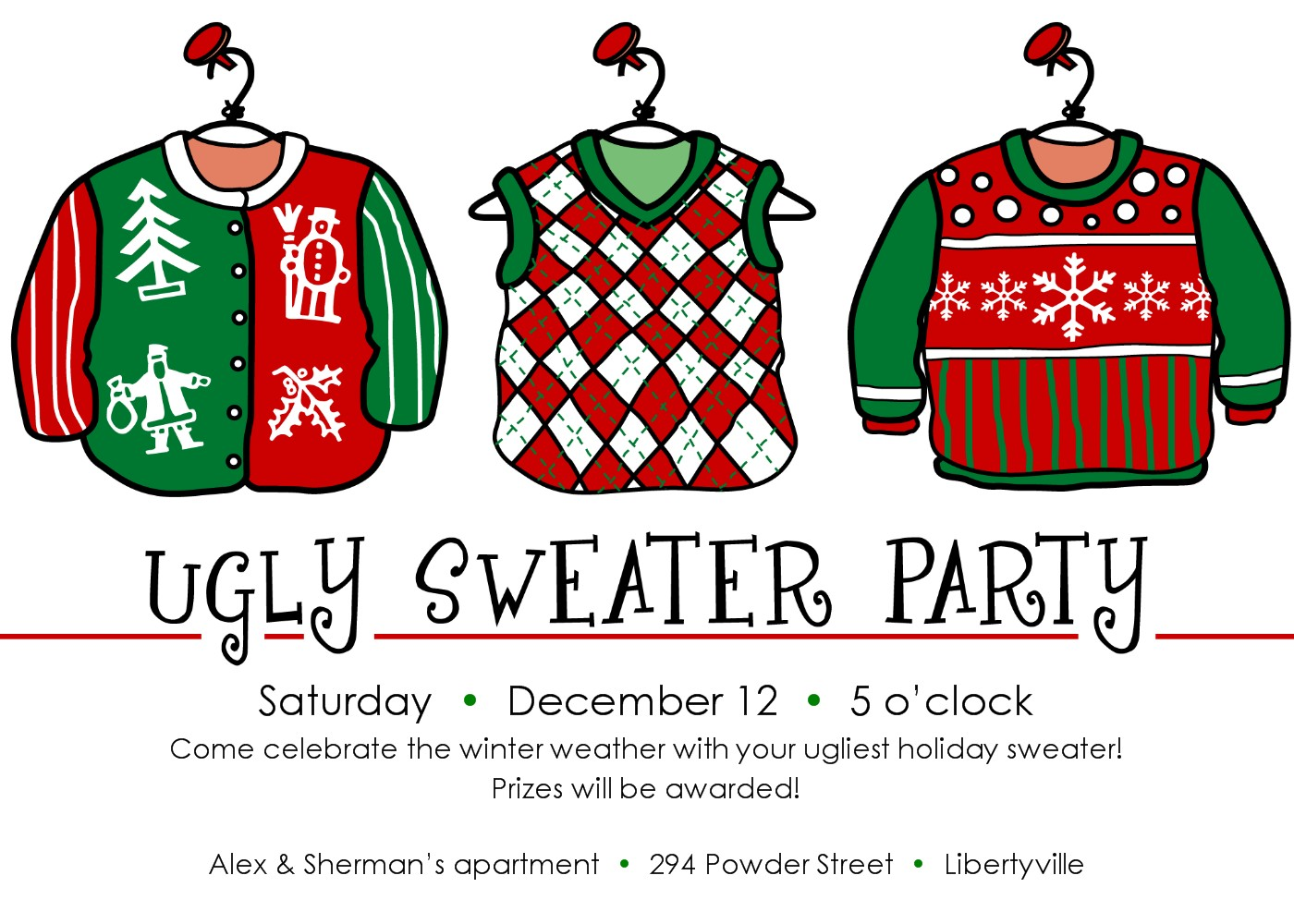 Ugly Sweater Party Clipart.