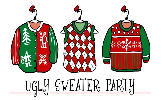 Ugly Christmas Sweater Party Clipart.