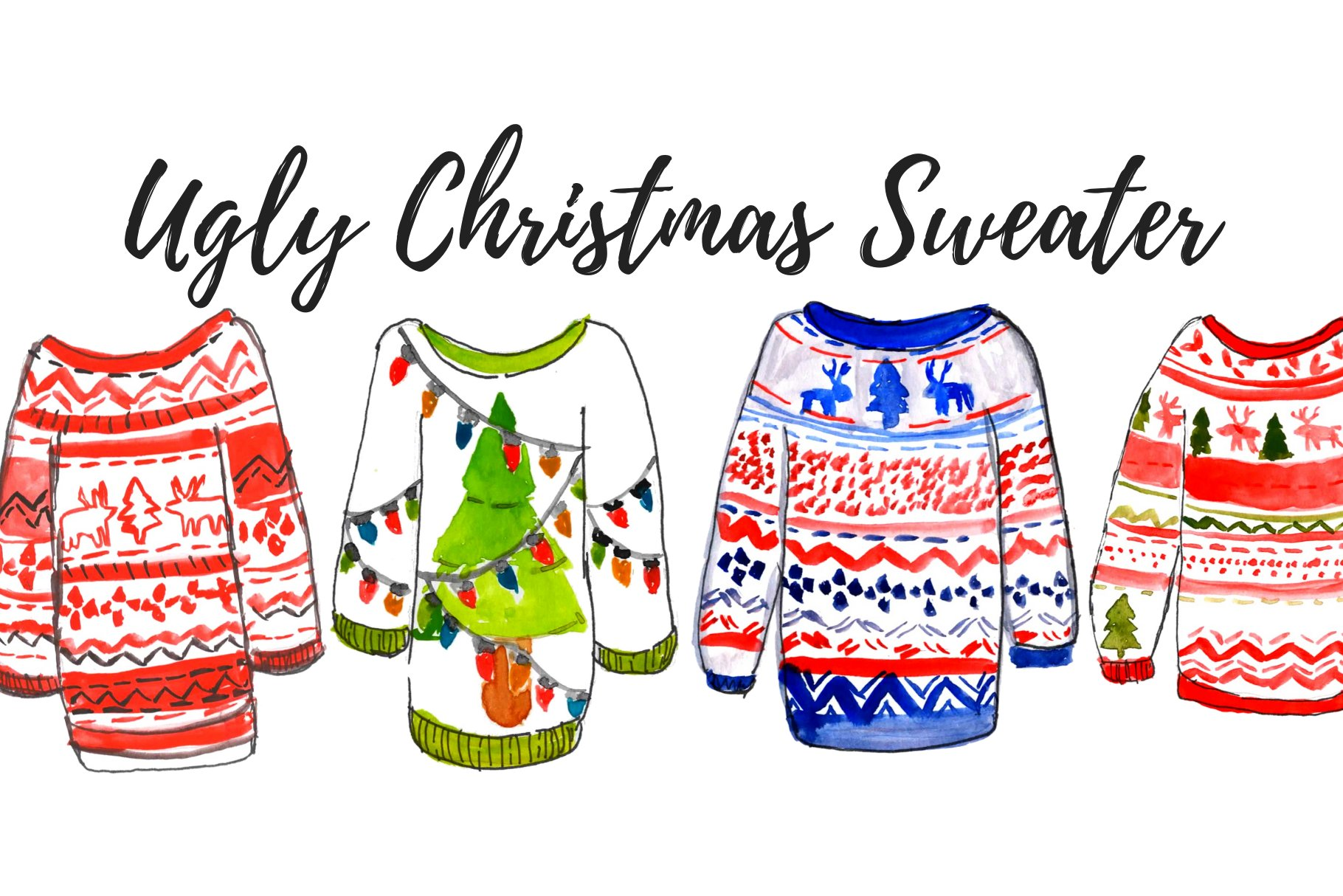 Ugly Christmas sweater clipart set.