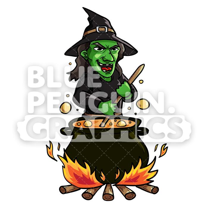 Ugly Witch With Pot Vector Cartoon Clipart Illustration.