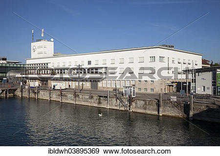 "Stock Photograph of ""Zeppelin Museum at the harbour, Lake."