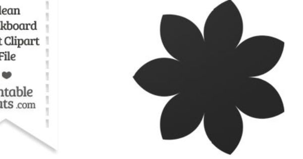 Clean Chalkboard Giant Pointed Petal Flower Clipart.