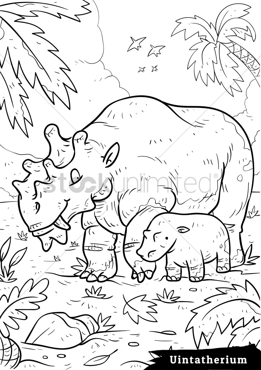Uintatherium with hatchling Vector Image.