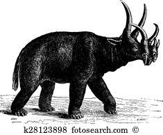 Uintatherium Clipart EPS Images. 2 uintatherium clip art vector.