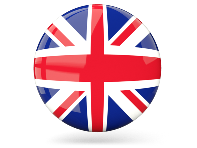 Glossy round icon. Illustration of flag of United Kingdom.