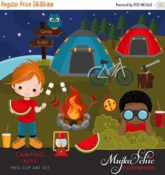 Glamping Clipart for Girls. Campground, tents, camp fire, lantern.