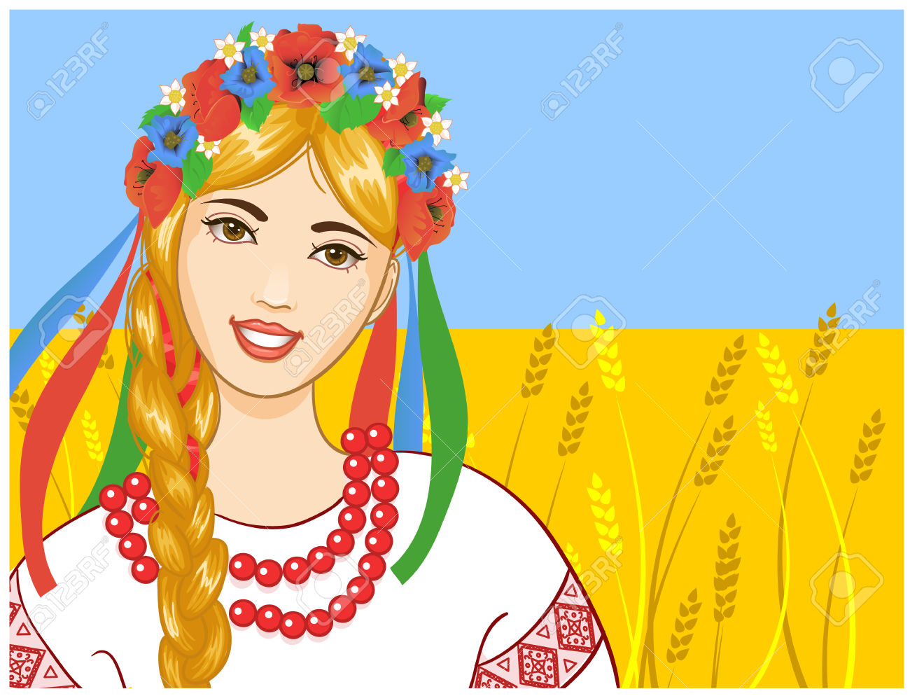 Young Woman In Ukrainian Clothes Royalty Free Cliparts, Vectors.