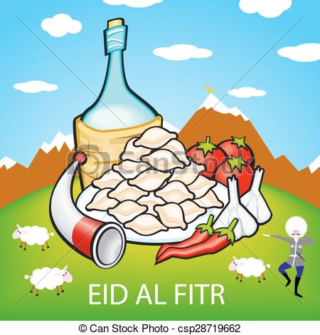 Clip Art Vector of eid, adha, al, ul, sheep, bakra, goat, fitr.