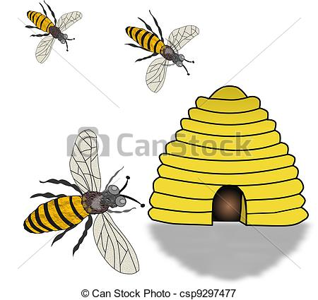 Stock Illustrations of Bee Hive and Swarming Bees.