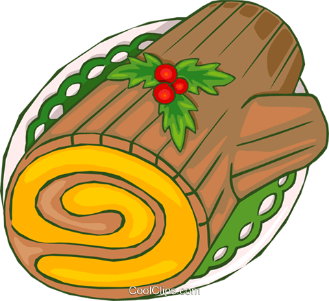 Christmas Yule log Royalty Free Vector Clip Art illustration.