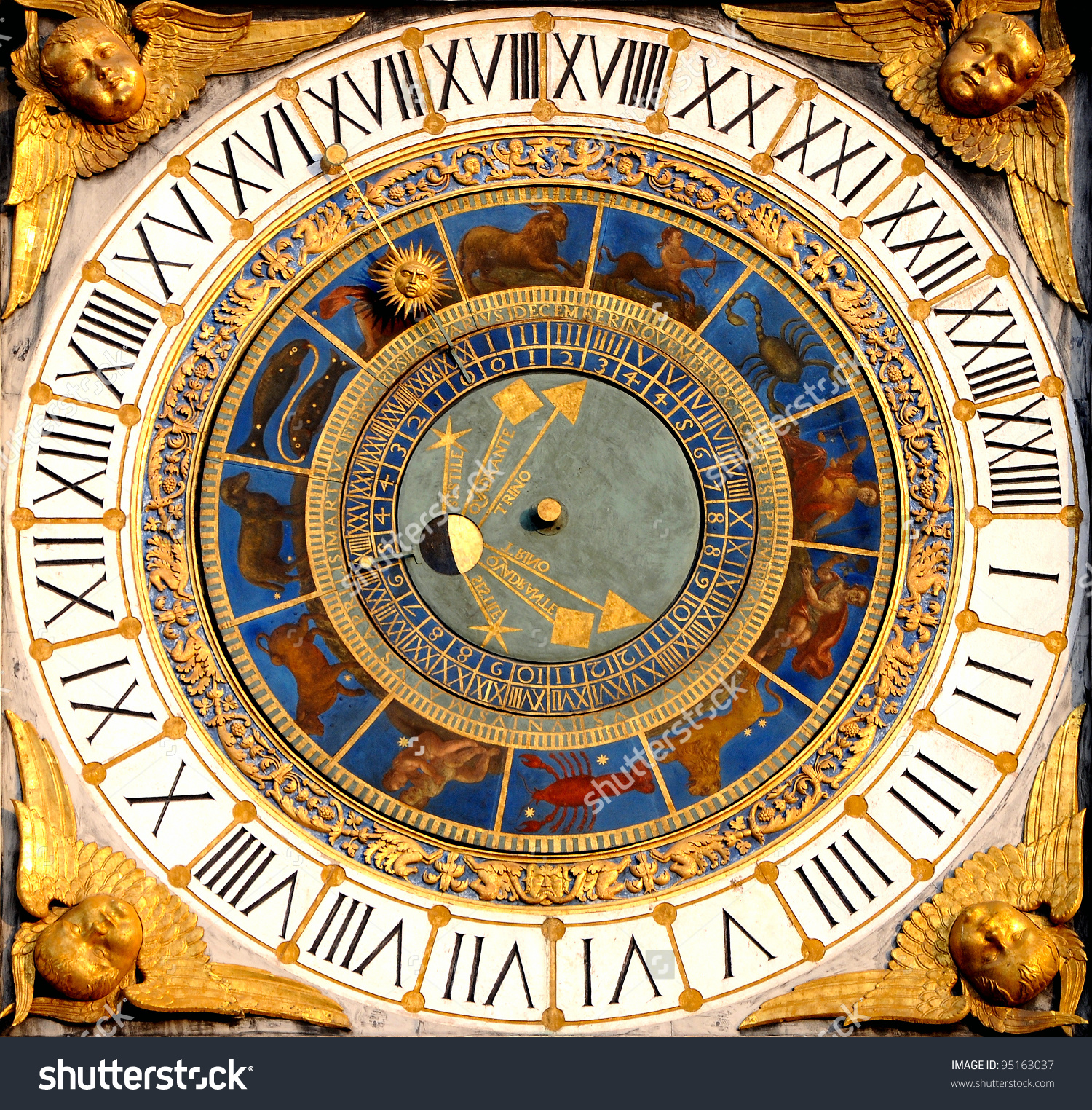 Renaissance Astronomical Clock Brescia Italy 154050 Stock Photo.