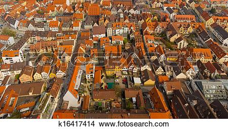 Stock Photo of panoramic view from Ulm Munster church, Germany.