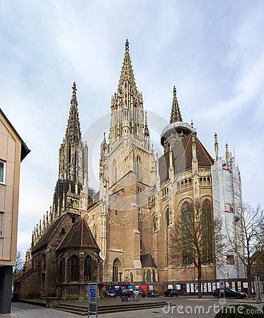 Ulmer Munster (Minster) Tower In Ulm, Germany Stock Photo.