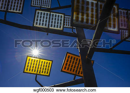 Stock Photo of Germany, Ulm, solar tree in the Ulmer residential.