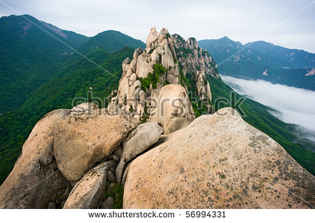 Famous Ulsanbawi Rock Against The Fog Seorak Mountains At The.