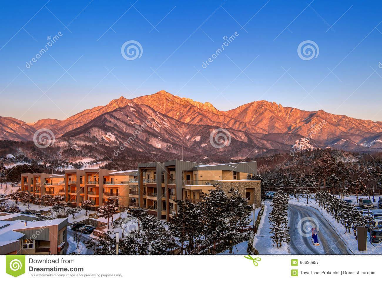 Ulsan Bawi Rock In Seoraksan Mountains In Winter, Korea. Stock.