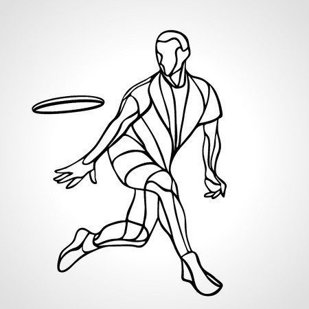 Sportsman throwing ultimate frisbee. Lineart clipart, vector.