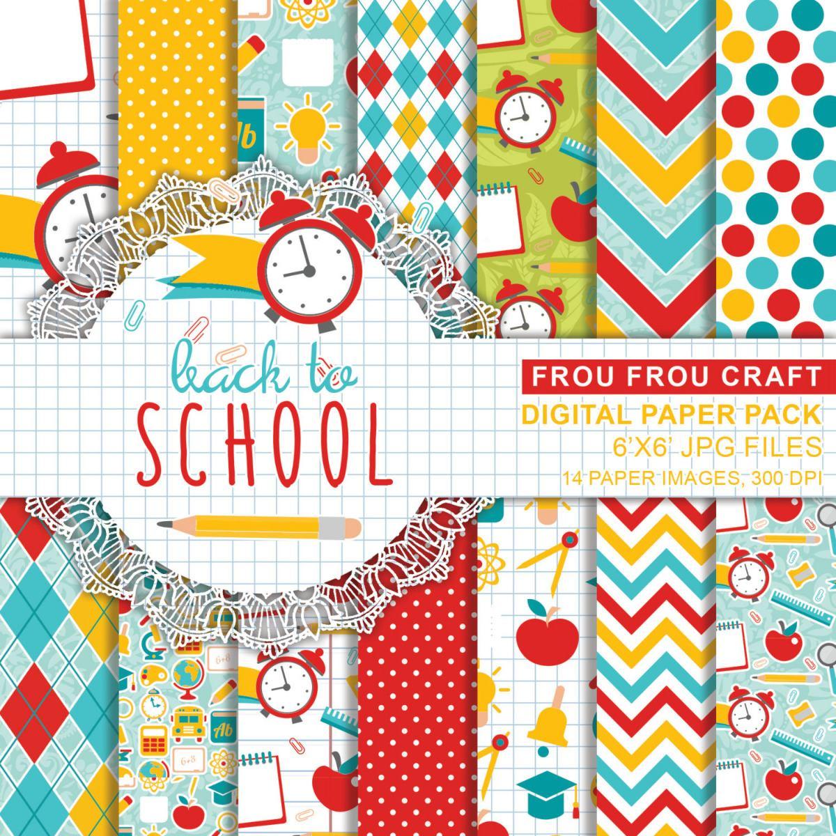 Kit Imprimible Pack Fondos Dia De Escuela Clase 23 Clipart.