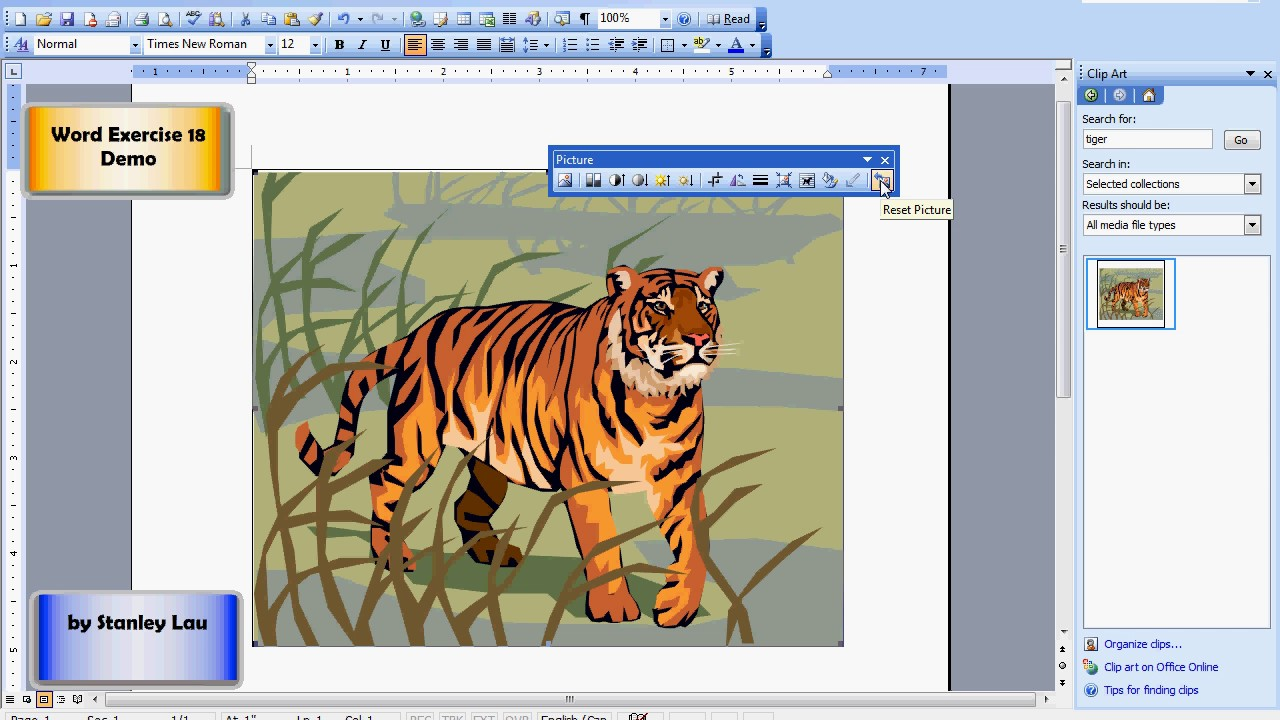 Microsoft Word 18 Inserting Pictures/Clipart.