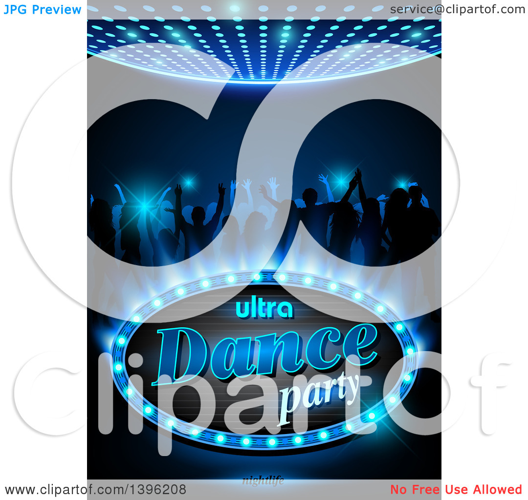 Clipart of Silhouetted Young Adults Dancing on Blue with Ultra.