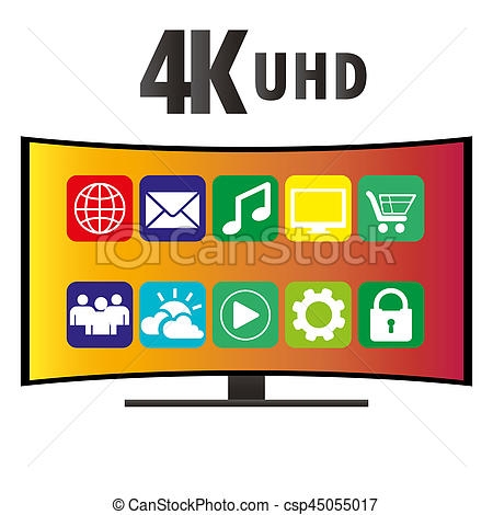 Clipart of 4K Ultra HD Modern Curved Screen Smart TV, vector.