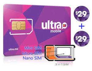 Details about Preloaded ULTRA MOBILE Mini+Micro+Nano(3in1)SIM Card + $29X2  Month FREE SHIPPING.