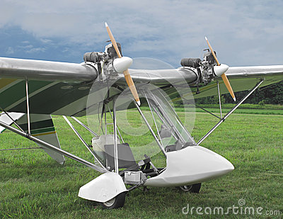 Twin Engine Ultralight Aircraft. Stock Images.
