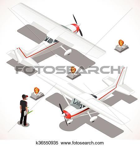 Clipart of Ultralight Isometric Airplane k36550935.