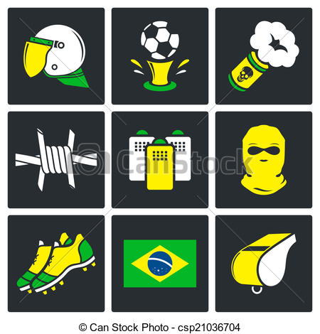 Vector Clipart of Soccer fans ultras Icons set.
