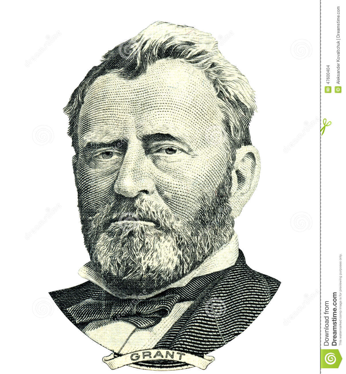 Ulysses S. Grant Portrait Cutout (Clipping Path) Stock Photo.