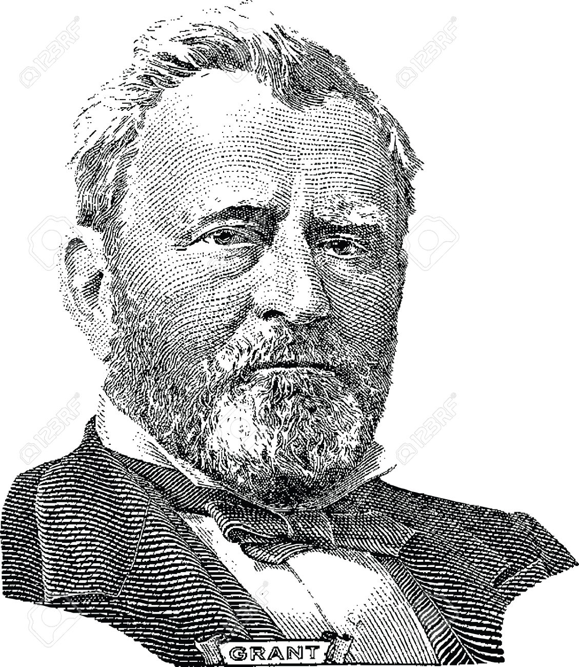 Gravure Of Ulysses S Grant Vector In Front Of The Fifty Dollar.