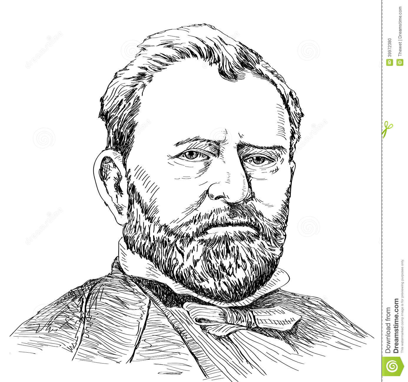 Portraits Of Ulysses S. Grant Stock Vector.