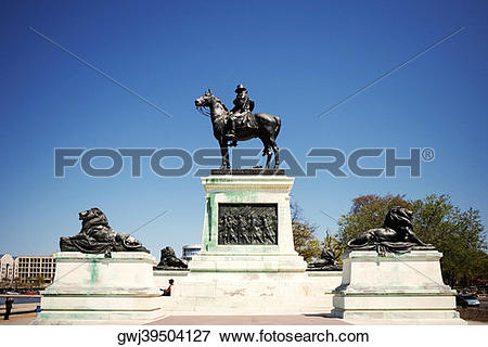 Picture of Low angle view of Ulysses S. Grant on a horseback.