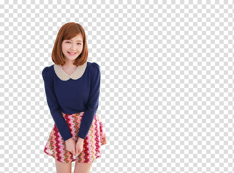 RENDER Ulzzang Girl, woman in blue top and chevron dress.