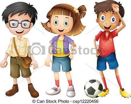 Clipart Vector of Boys and a girl.