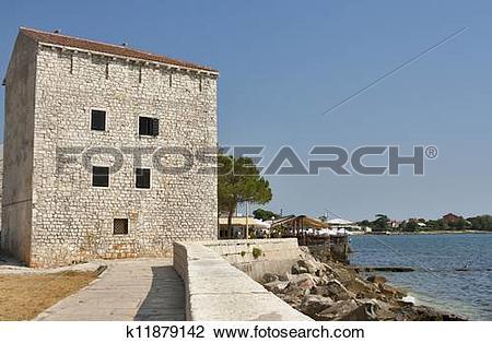 Stock Photo of Typical Croatian house in town Umag, Croatia.