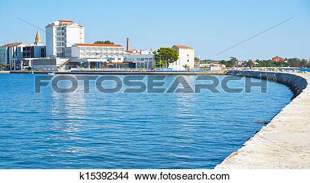 Stock Photo of Umag and blue sea, Croatia k15392344.