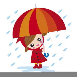 Girl With Umbrella In Rain Clipart.