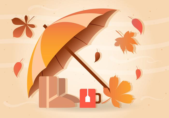 Fall Rain Vector Umbrella.