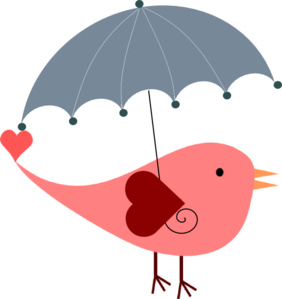 Bird With Umbrella clip art.