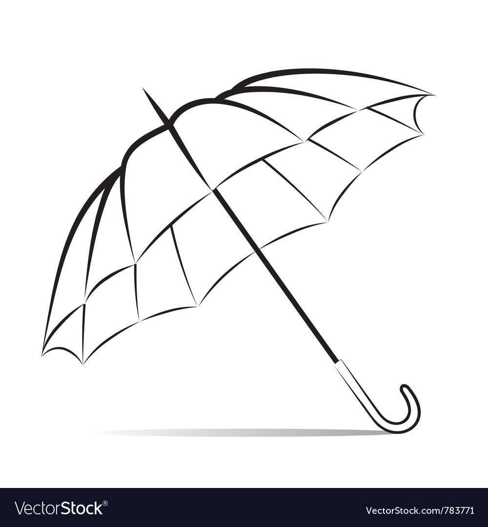 Drawing umbrella on white background.