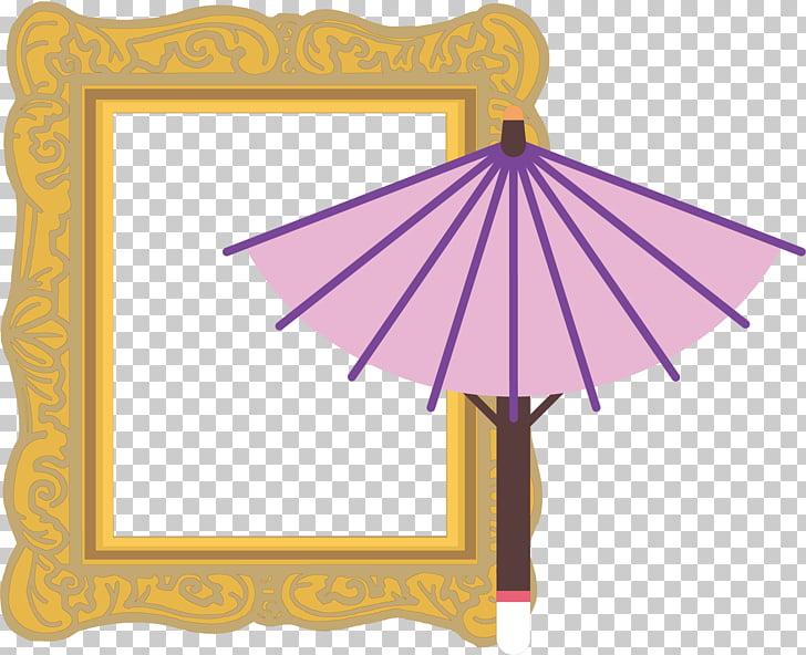 Drawing Art Illustration, Umbrella Japanese border PNG.
