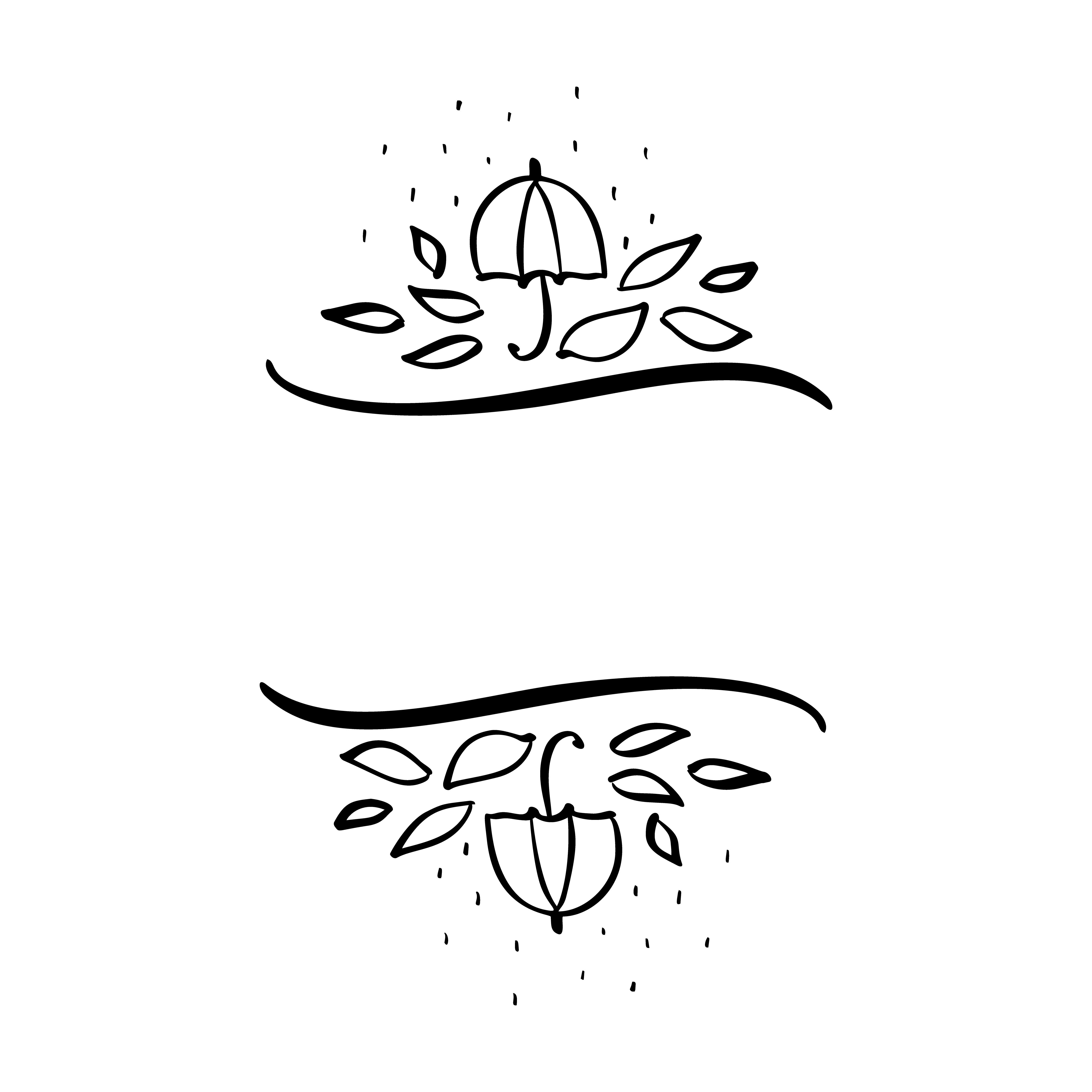 Autumn vector illustration leaves and umbrella border frame.