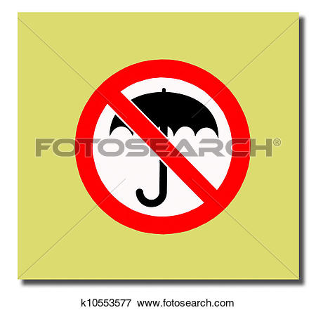 Stock Illustration of The Guide post of no umbrella isolated on.