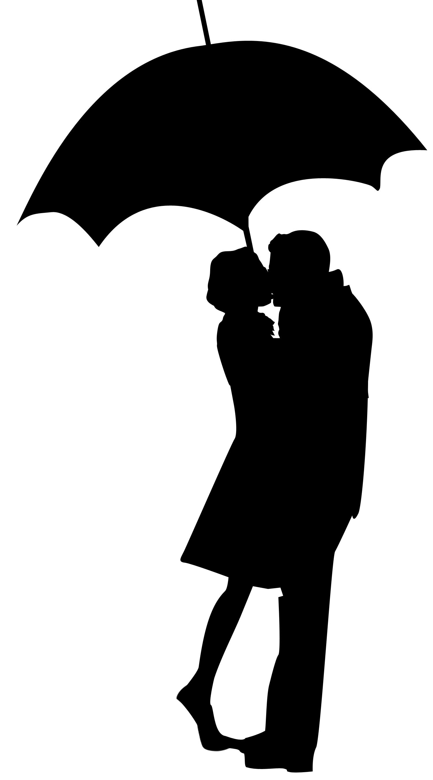 silhouette couple umbrella.