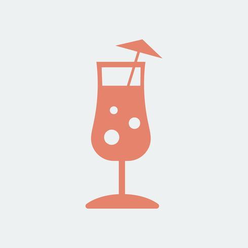 Umbrella drink cocktail glass illustration.